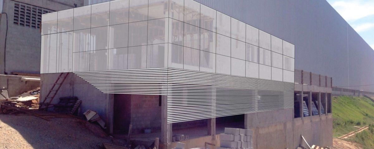Projeto 3d de Fachada de Pele de Vidro da Tambasa
